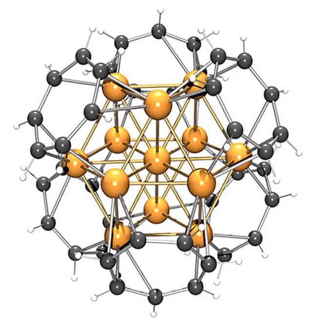 东京工业大学、京都大学与日本自然科学研究机构分子科学研究所组成的联合研发小组,成功合成了用环状不饱和烃以三维形式夹住13个钯原子的有机金属纳米簇。三明治结构络合物是获得过1973年诺贝尔奖的化合物,由两个环状不饱和烃从两个方向夹住一个或多个金属原子构成。 联合研发小组着眼于七角形环状不饱和烃易于与多个金属原子结合的性质,发现利用环状不饱和烃从6个方向夹住由10个以上金属原子集结成块状形成的金属纳米簇,能生成稳定的有机金属簇分子(图1)。 此次合成的三维形状三明治结构金属纳米簇拥有碳平面以立方体状排列的结构